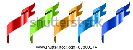 Collection of colored banners. Raster version.