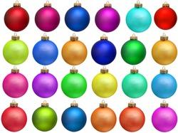 collection of colored christmas ball. set