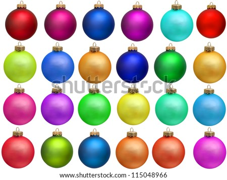 "collection of colored christmas ball. set ""christmas ornament"" . Isolated over white background."