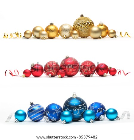Collection of colored christmas balls,Isolated over white.