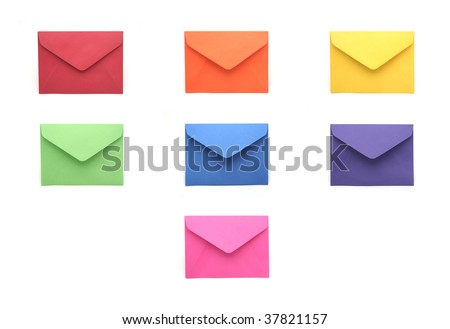 Collection of Colored Envelopes on White Background