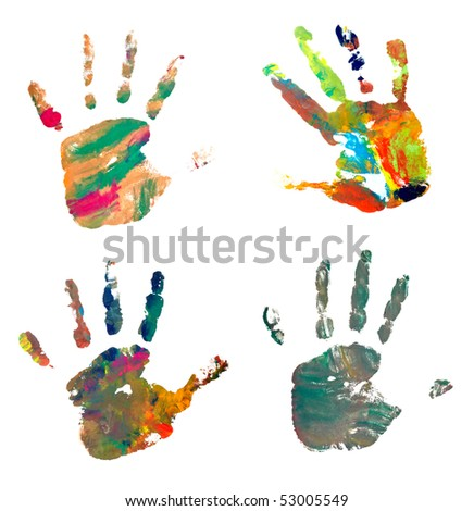 collection of colored hand prints on white background