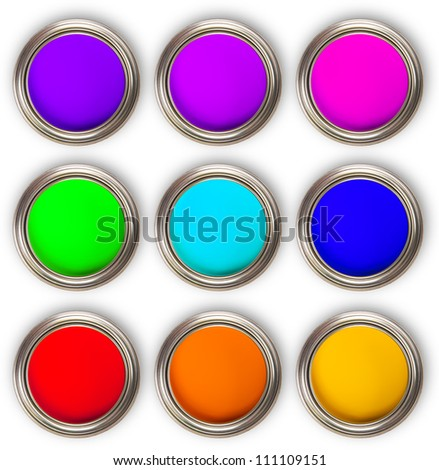 Collection of colored paints cans, up view, isolated on white background