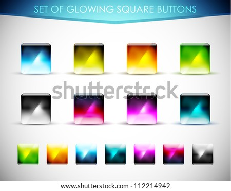 Collection of colorful abstract glowing buttons / icons