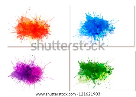 Collection of colorful abstract watercolor banners. Raster version of vector