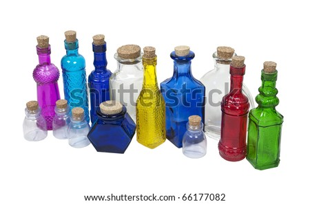 Collection of colorful bottles with cork stoppers - path included