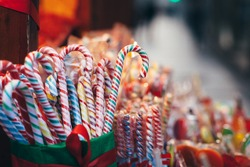 Collection of colorful candies at the market