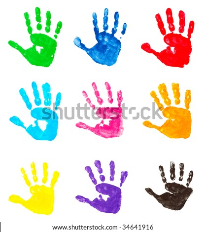 stock photo : collection of colorful child hand prints  on white background . each one is in camera full resolution