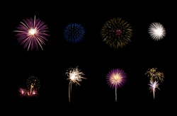 Collection of colorful festive eight fireworks exploding over night sky, isolated on black background