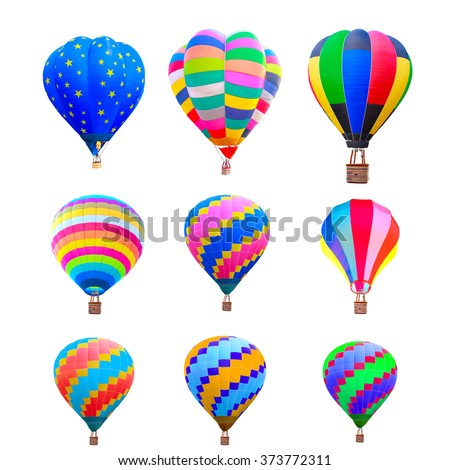 collection of colorful hot air balloon isolate on white background with clipping path