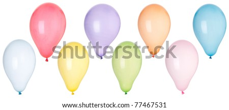 collection of colorful inflatable balloons (isolated on white background)