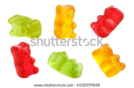 Collection of colorful jelly gummy bears, isolated on white background Stock foto ©