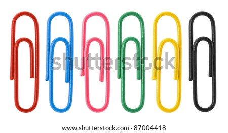 Collection of colorful paper clips - stock photo