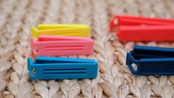 Collection of colorful plastic sealing clip (bag clip).