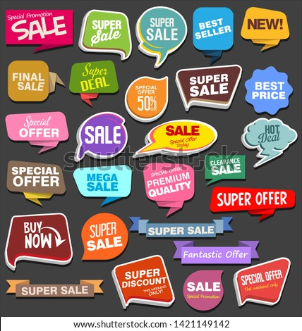 Collection of colorful sale stickers and tags