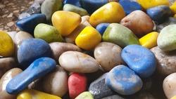 Collection of coloured pebbles, feng shui, vastu, decor, interior decor, plants, planters, decoration