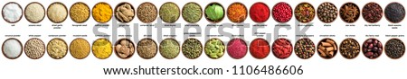 collection of condiments and herbs isolated on white background. Various spices, top view