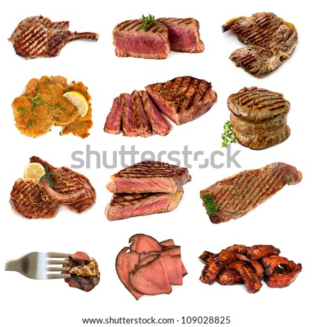 Collection of cooked meat images, isolated on white.  Includes beef and pork, steak, cutlets, filet mignon, schnitzel, rare roast beef and spareribs.