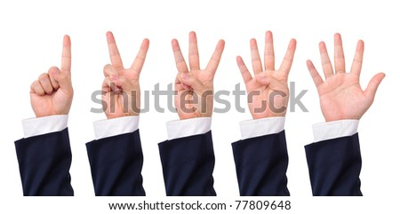 Collection of counting business man's hands isolated on white