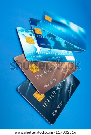 collection of credit cards on the table surface