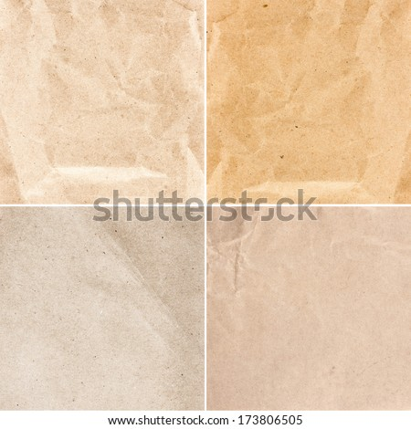Collection of  Crumpled recycled paper  texture or backgrounds in natural bright pastel colors. Set  of   Vintage craft paper texture.