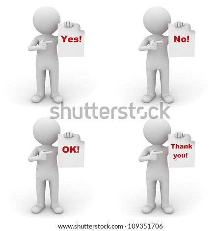 Collection of 3d man holding paper with red word yes, no, ok and thank you on white background