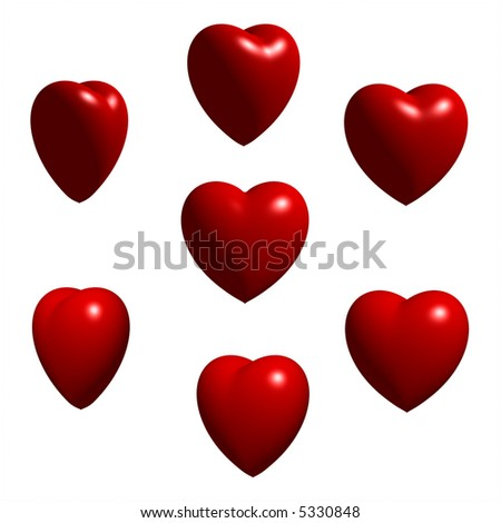 Collection of 3D Rendered Shiny Hearts