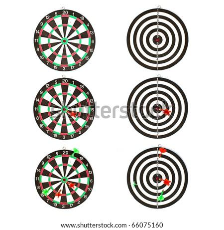 Collection of dartboards isolated on white background.