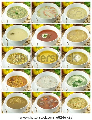 Collection of delicious and healthy soups