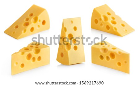 Collection of delicious cheese pieces, isolated on white background