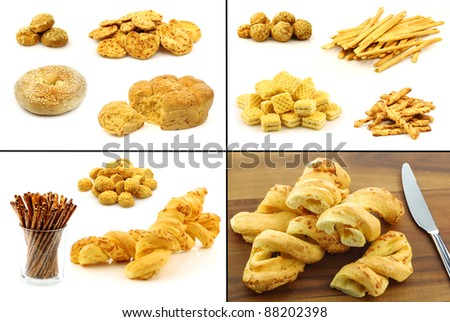 collection of delicious cheese snacks and cheese bread