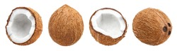 Collection of delicious coconuts, isolated on white background