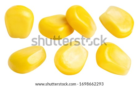 Collection of delicious corn seeds, isolated on white background Сток-фото ©