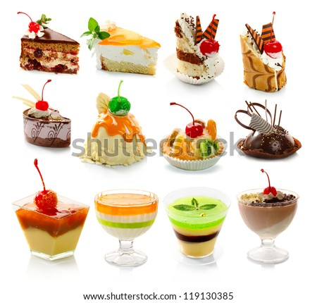 Collection of delicious dessert isolated on white background