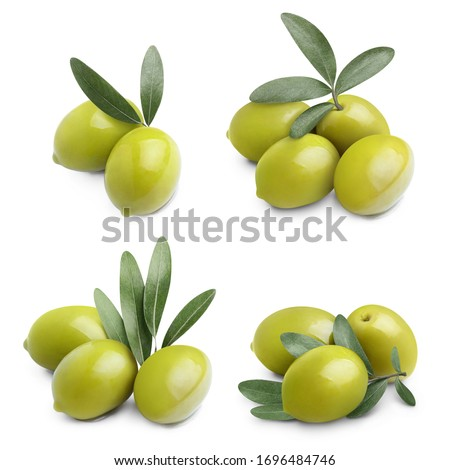 Collection of delicious green olives with leaves, isolated on white background Сток-фото ©