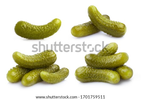 Collection of delicious marinated cucumbers, isolated on white background Сток-фото ©