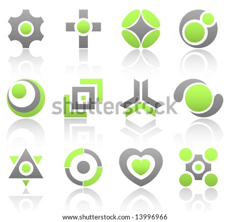 Collection of 12 design elements and graphics in green and gray color. Part 4.