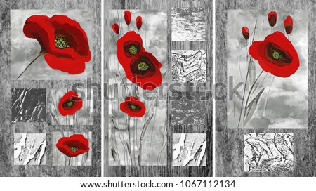 Collection of designer oil paintings. Decoration for the interior. Modern abstract art on canvas. Set of pictures with different textures and colors. Red poppies on gray background.