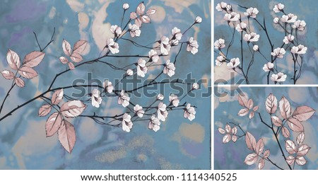 Collection of designer oil paintings. Decoration for the interior. Modern abstract art on canvas.  White flowers on blue background.