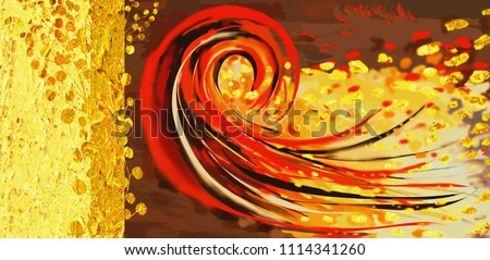 Collection of designer oil paintings. Decoration for the interior. Modern abstract art on canvas. Red and gold.
