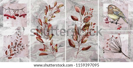 Collection of designer oil paintings. Decoration for the interior. Modern abstract art on canvas. Set of patterns with different textures and colors. Autumn, birds, red leaves.