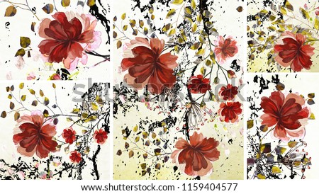 Collection of designer oil paintings. Decoration for the interior. Modern abstract art on canvas. Set of patterns with different textures and colors. Burgundy flowers.