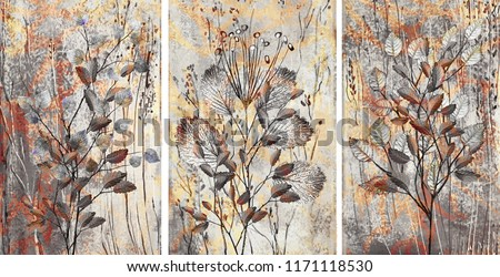 Collection of designer oil paintings. Decoration for the interior. Modern abstract art on canvas. Set of patterns with different textures and colors.