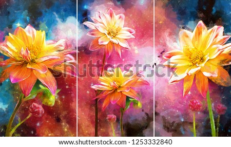 Collection of designer oil paintings. Decoration for the interior. Modern abstract art on canvas. Set of pictures with different textures and colors. white flowers on colorful galaxy background