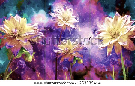Collection of designer oil paintings. Decoration for the interior. Modern abstract art on canvas. Set of pictures with different textures and colors. white flowers on Purple galaxy background