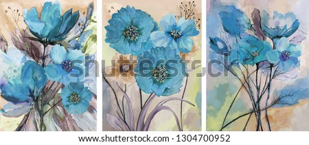 Collection of designer oil paintings. Decoration for the interior. Modern abstract art on canvas. Set of paintings with blue watercolor flowers.