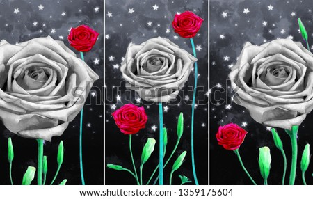 Collection of designer oil paintings. Decoration for the interior. Modern abstract art on canvas. Set of pictures with different textures and colors. rose flowers on night sky with stars background