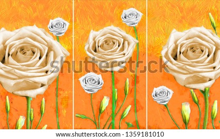 Collection of designer oil paintings. Decoration for the interior. Modern abstract art on canvas. Set of pictures with different textures and colors. rose flowers on orange background