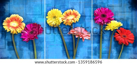 Collection of designer oil paintings. Decoration for the interior. Modern abstract art on canvas. Set of pictures with different textures and colors. colorful flowers on abstract blue background