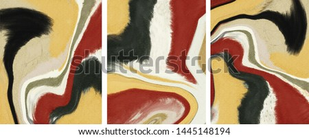 Collection of designer oil paintings. Decoration for the interior. Modern abstract art on canvas. Set of pictures with different textures. Red, yellow, black.